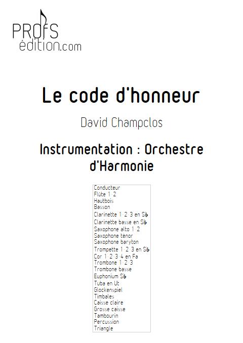 Le Code d'Honneur - Orchestre d'Harmonie - CHAMPCLOS D. - page de garde