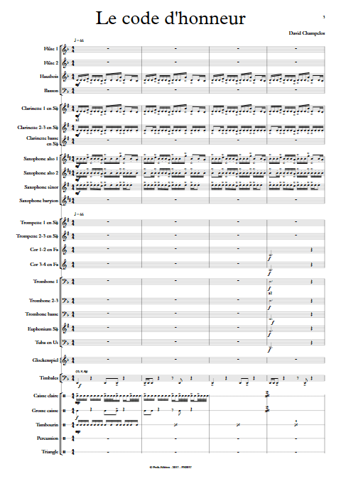 Le Code d'Honneur - Orchestre d'Harmonie - CHAMPCLOS D. - Partition