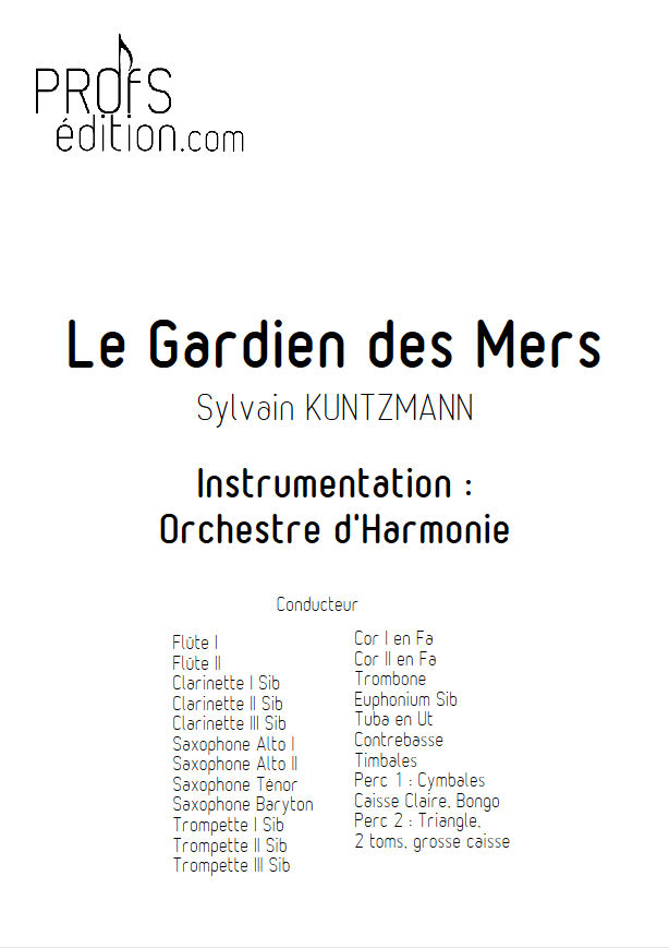 Le Gardien des Mers - Orchestre Harmonie - KUNTZMANN S. - page de garde