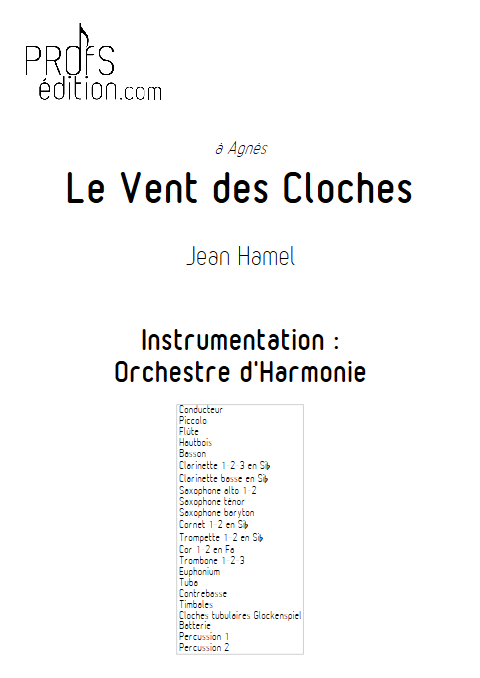 Le vent des cloches - Orchestre d'Harmonie - HAMEL J. - page de garde