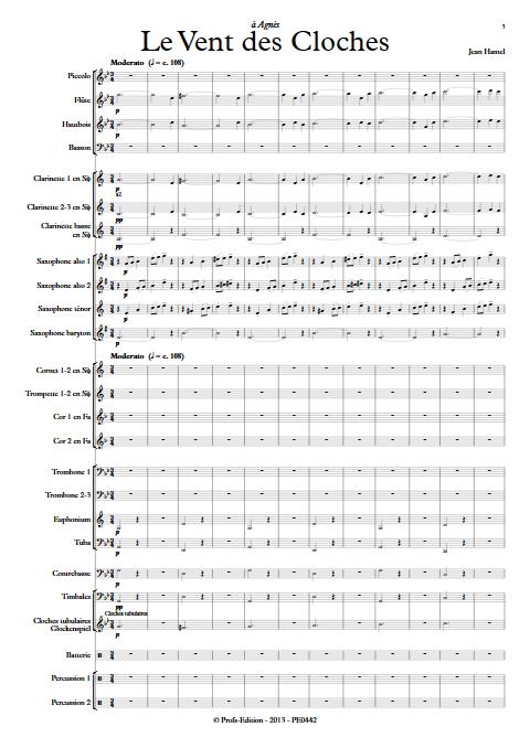 Le vent des cloches - Orchestre d'Harmonie - HAMEL J. - app.scorescoreTitle