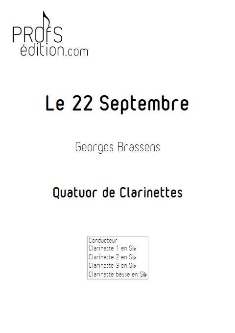 Le 22 Septembre - Quatuor de Clarinettes - BRASSENS G. - page de garde