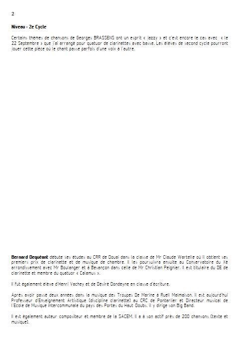 Le 22 Septembre - Quatuor de Clarinettes - BRASSENS G. - Fiche Pédagogique