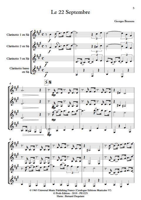 Le 22 Septembre - Quatuor de Clarinettes - BRASSENS G. - Partition