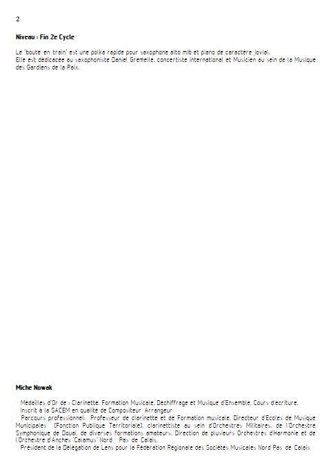Le Boute-en-train - Saxophone & Piano - NOWAK M. - Fiche Pédagogique
