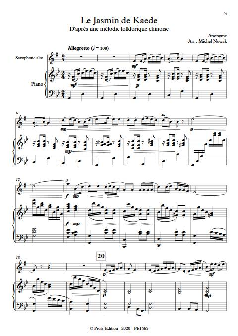 Le Jasmin de Kaede - Saxophone Piano - ANONYME - app.scorescoreTitle