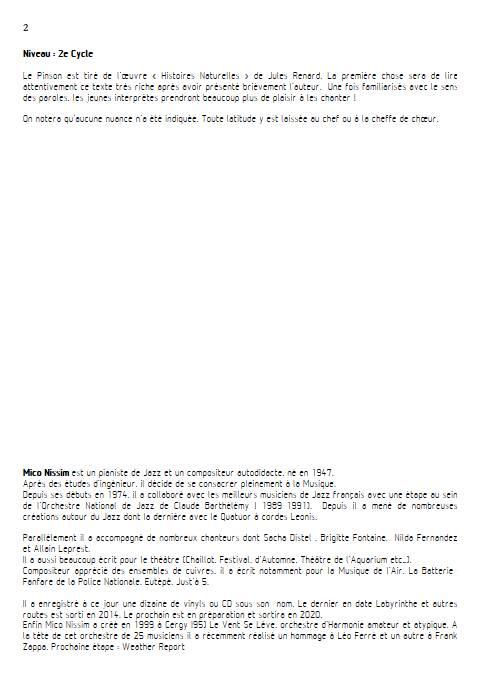 Le Pinson - Chœur et Piano - NISSIM M. - Fiche Pédagogique