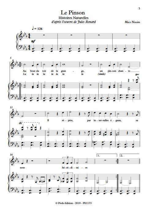 Le Pinson - Chœur et Piano - NISSIM M. - Partition