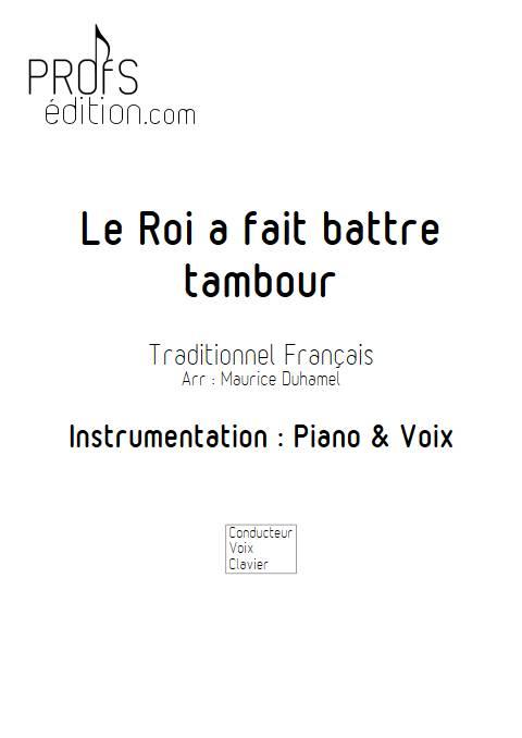 Le Roi a fait battre tambour - Piano Voix - TRADITINONEL Français - page de garde