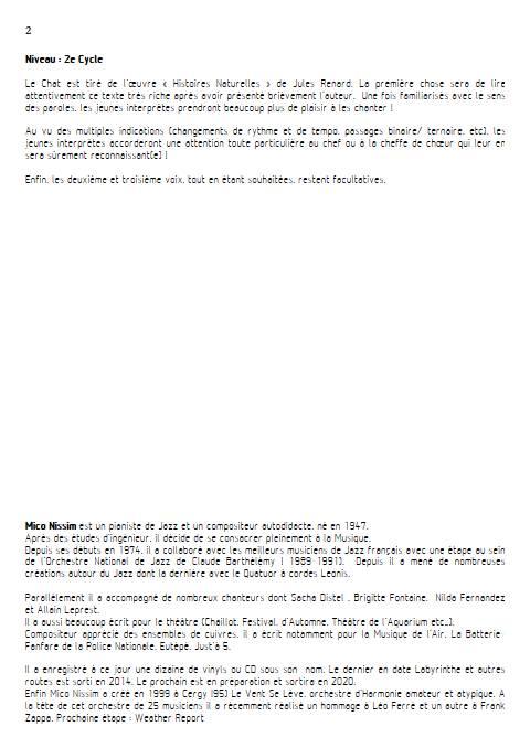 Le Chat - Chœur et Piano - NISSIM M. - Fiche Pédagogique