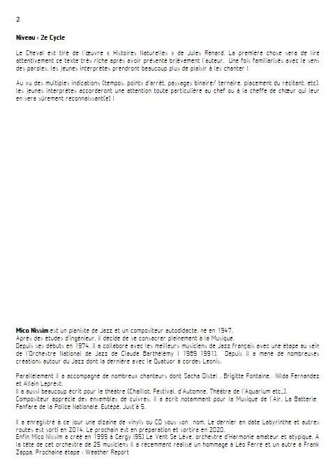 Le Cheval - Chœur et Piano - NISSIM M. - Fiche Pédagogique