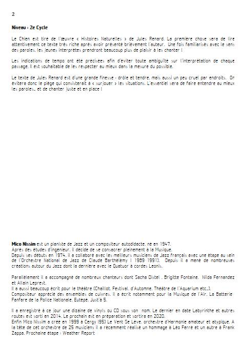 Le Chien - Chœur et Piano - NISSIM M. - Fiche Pédagogique