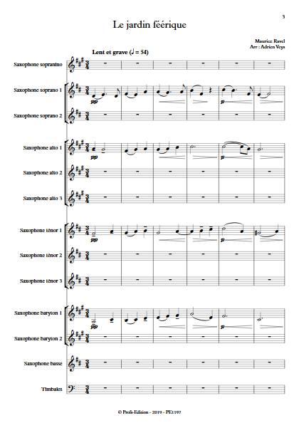 Le jardin féérique - Ensemble de Saxophones - RAVEL M. - Partition