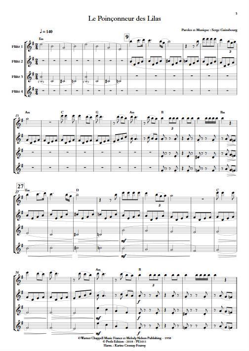 Le poinçonneur des Lilas - Quatuor de Flûtes - GAINSBOURG S. - Partition