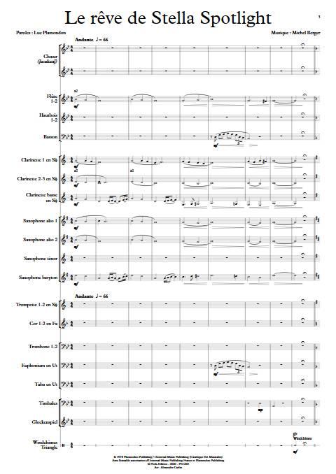 Le rêve de Stella - Chœur & Orchestre d'Harmonie - BERGER M. - Partition