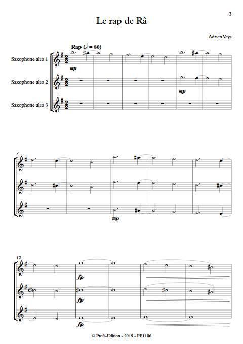 Le rap de Râ - Trio de Saxophones - VEYS A. - Partition