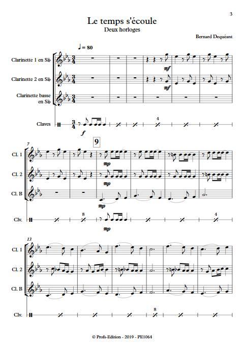 Le temps s'écoule - Trio de Clarinettes - DEQUEANT B. - Partition