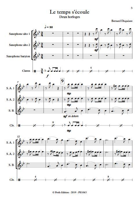 Le temps s'écoule - Trio de Saxophones - DEQUEANT B. - Partition