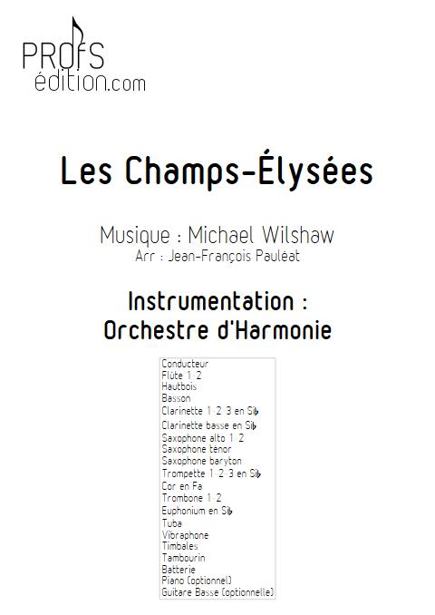 Les Champs Elysees - Orchestre d'Harmonie - WILSHAW M. - page de garde