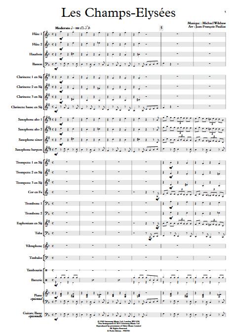 Les Champs Elysees - Orchestre d'Harmonie - WILSHAW M. - Partition