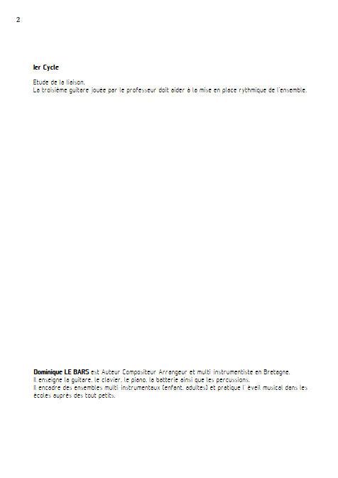 Les Liaisons Dangereuses - Trios Guitare - LE BARS D. - Fiche Pédagogique
