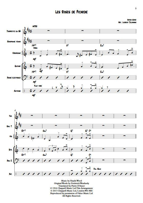 Les Roses de Picardie - Sextette Jazz - WOOD H. - Partition
