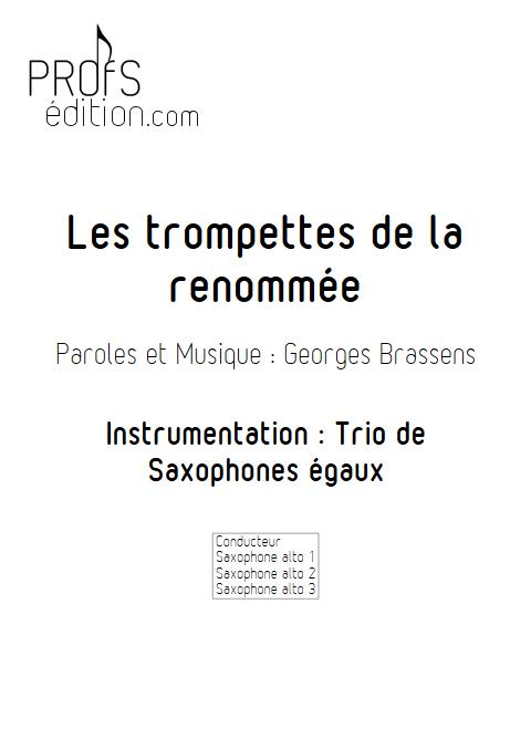 Les trompettes de la renommée - Trio de Saxophones égaux - BRASSENS G. - page de garde