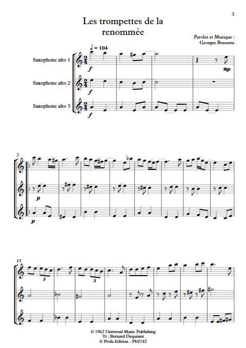 Les trompettes de la renommée - Trio de Saxophones égaux - BRASSENS G. - Partition