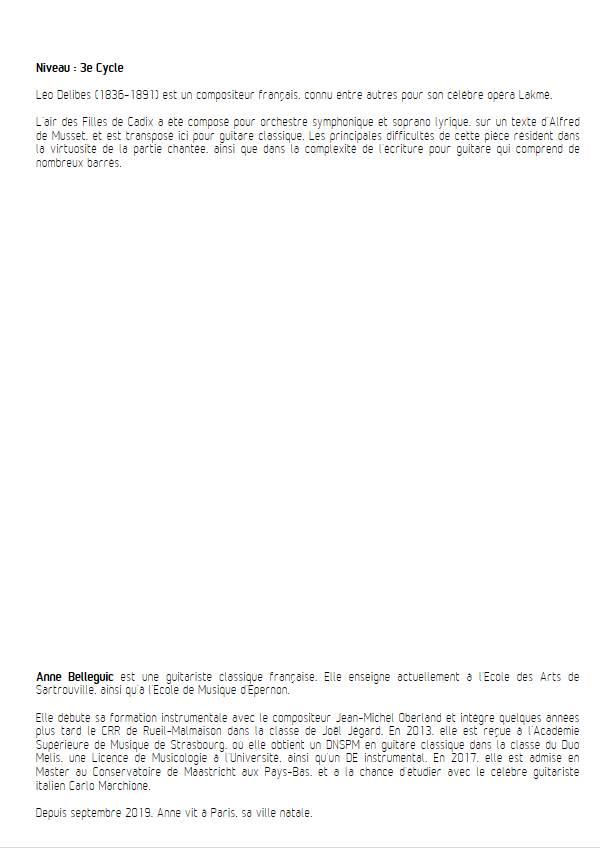 Les Filles de Cadix - Guitare et Voix - DELIBES L. - Fiche Pédagogique
