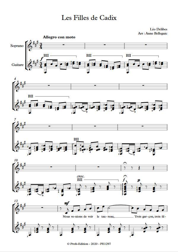 Les Filles de Cadix - Guitare et Voix - DELIBES L. - app.scorescoreTitle