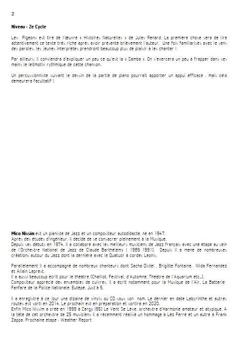 Les Pigeons - Chœur et Piano - NISSIM M. - Fiche Pédagogique