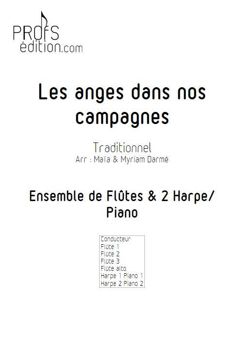 Les anges dans nos campagnes - Ensemble de flûtes et 2 harpes - TRADITIONNEL FRANÇAIS - page de garde
