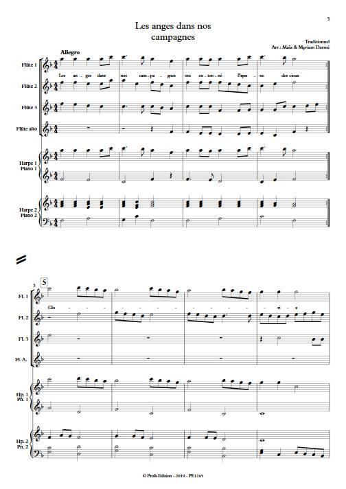 Les anges dans nos campagnes - Ensemble de flûtes et 2 harpes - TRADITIONNEL FRANÇAIS - Partition