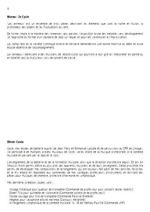 Les Anneaux - Instrument & Piano - COSTA O. - Fiche Pédagogique