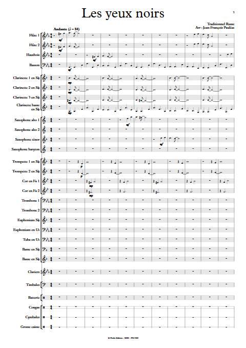 Les yeux noirs - Orchestre d'Harmonie - TRADITIONNEL RUSSE - Partition
