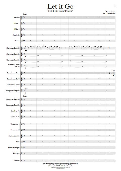 Libérée Délivrée (Let it Go) - La reine des neiges - Orchestre d'Harmonie - LOPEZ R. - Partition