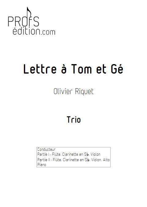Lettre à Tom et Gé - Trio - RIQUET O. - page de garde