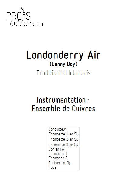 Londonderry Air - Ensemble de Cuivres - TRADITIONNEL IRLANDAIS - page de garde