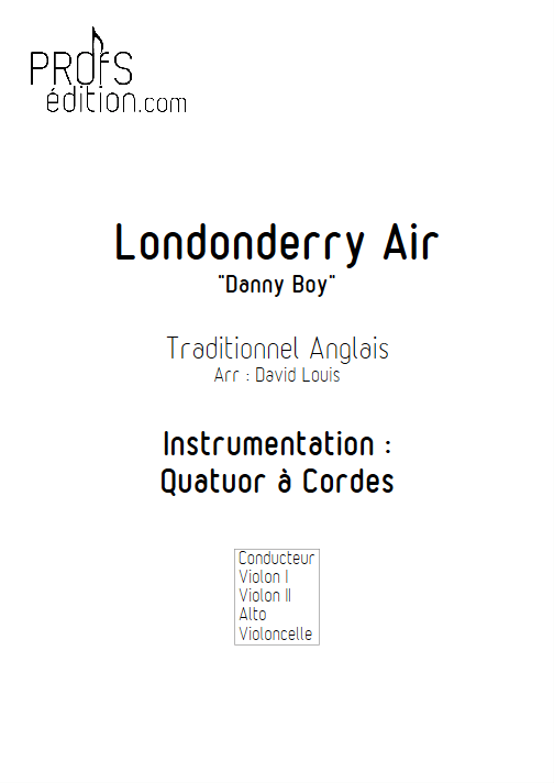 Londonderry Air - Quatuor à Cordes - TRADITIONNEL IRLANDAIS - page de garde