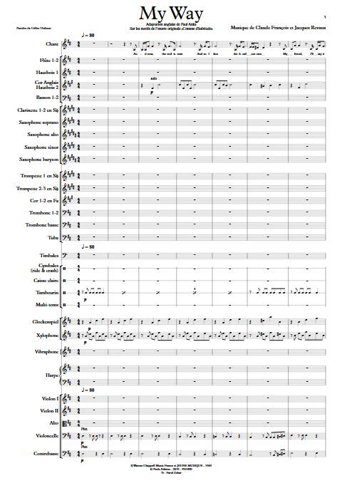My Way - Orchestre Symphonique - FRANCOIS C. - Partition