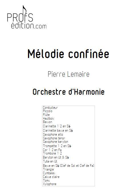Mélodie confinée - Orchestre d'harmonie - LEMAIRE P. - page de garde