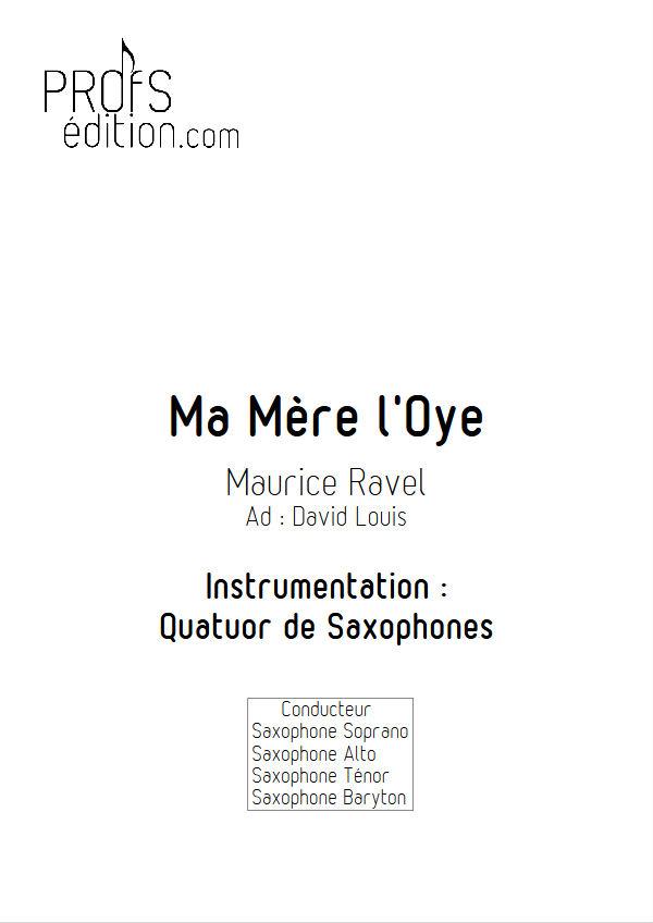 Ma mère l'Oye, Pavane... - Quatuor Saxophones - RAVEL M. - page de garde