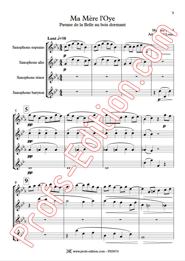 Ma mère l'Oye, Pavane... - Quatuor Saxophones - RAVEL M. - Partition