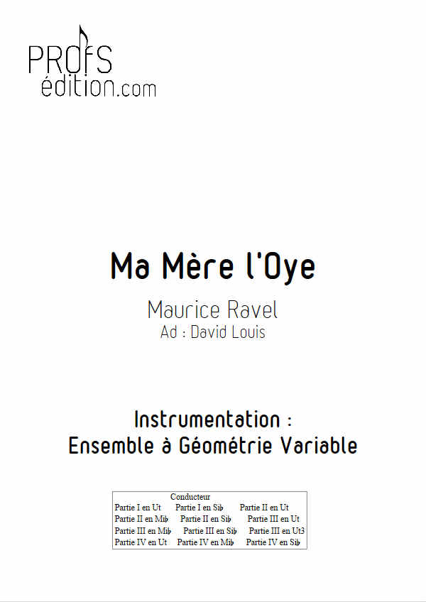 Pavane de la belle au bois dormant (Ma mère l'Oye) - Ensemble Géométrie Variable - RAVEL M. - page de garde