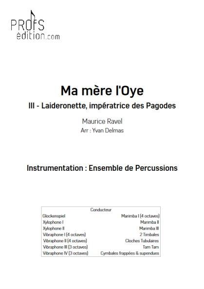 Laideronette - Ensemble Percussions - RAVEL M. - page de garde