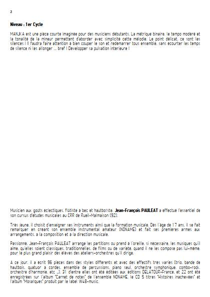 Manjka - Orchestre à cordes - PAULEAT J. F. - Fiche Pédagogique