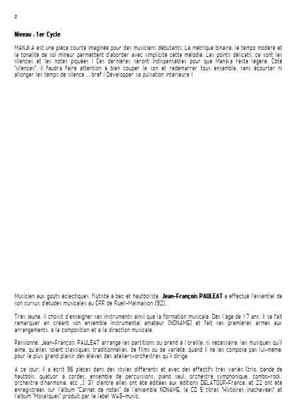 Manjka - Ensemble Variable - PAULEAT J. F. - Fiche Pédagogique