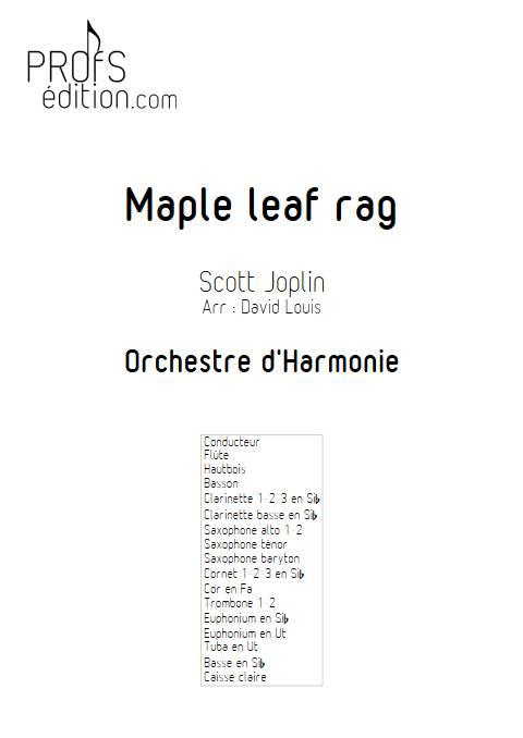 Maple leaf rag - Orchestre d'Harmonie - JOPLIN S. - page de garde
