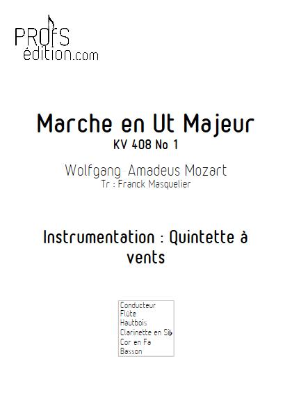 Marche KV 408 n°1 - Quintette à vents - MOZART W. A. - page de garde