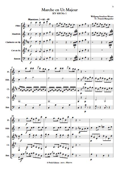 Marche KV 408 n°1 - Quintette à vents - MOZART W. A. - app.scorescoreTitle